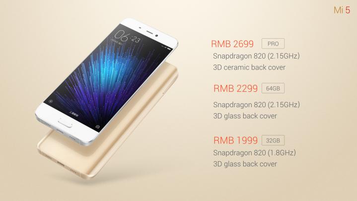 Xiaomi mi5 pricing