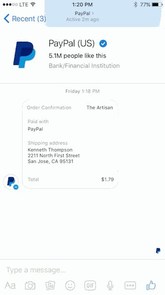 PayPal integrated with Facebook messenger for direct transaction inside chat.