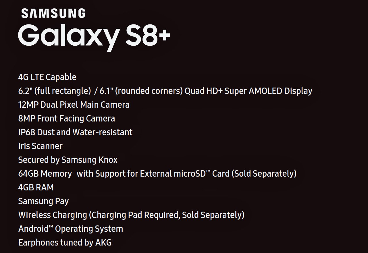 Galaxy S8+ Specs