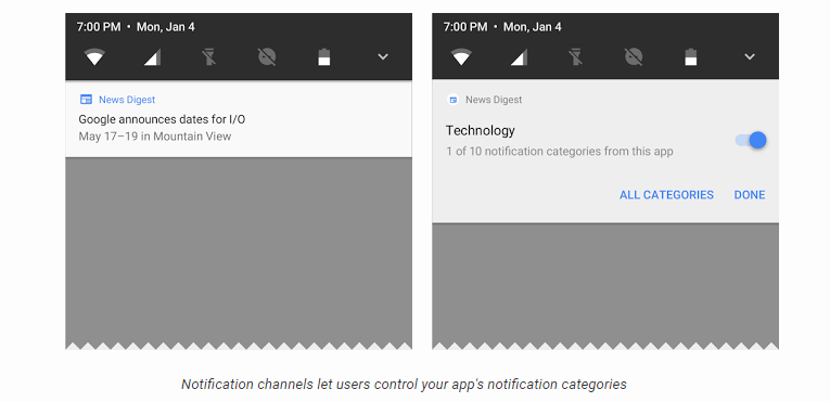 Notification panel - Android o