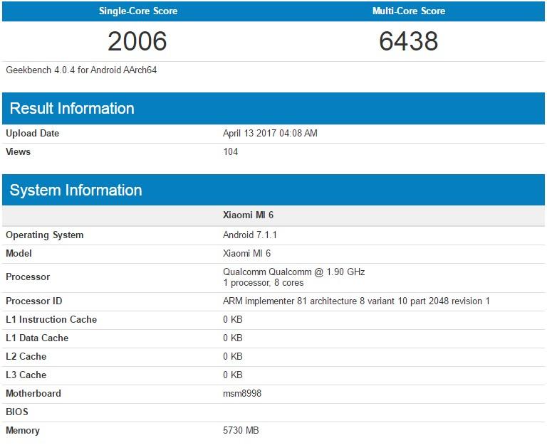 Xiaomi Mi 6 Geekbench Score