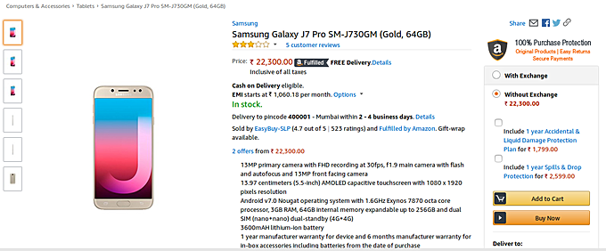 SAMSUNG-galaxy-j7-pro-amazon-india