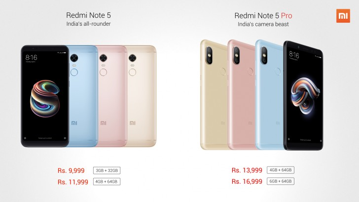 Redmi Note 5 and Note 5 Pro pricing