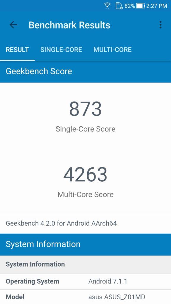 Zenfone 4 Selfie Pro Geekbench