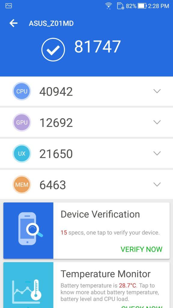 Zenfone 4 Selfie Pro AnTuTu