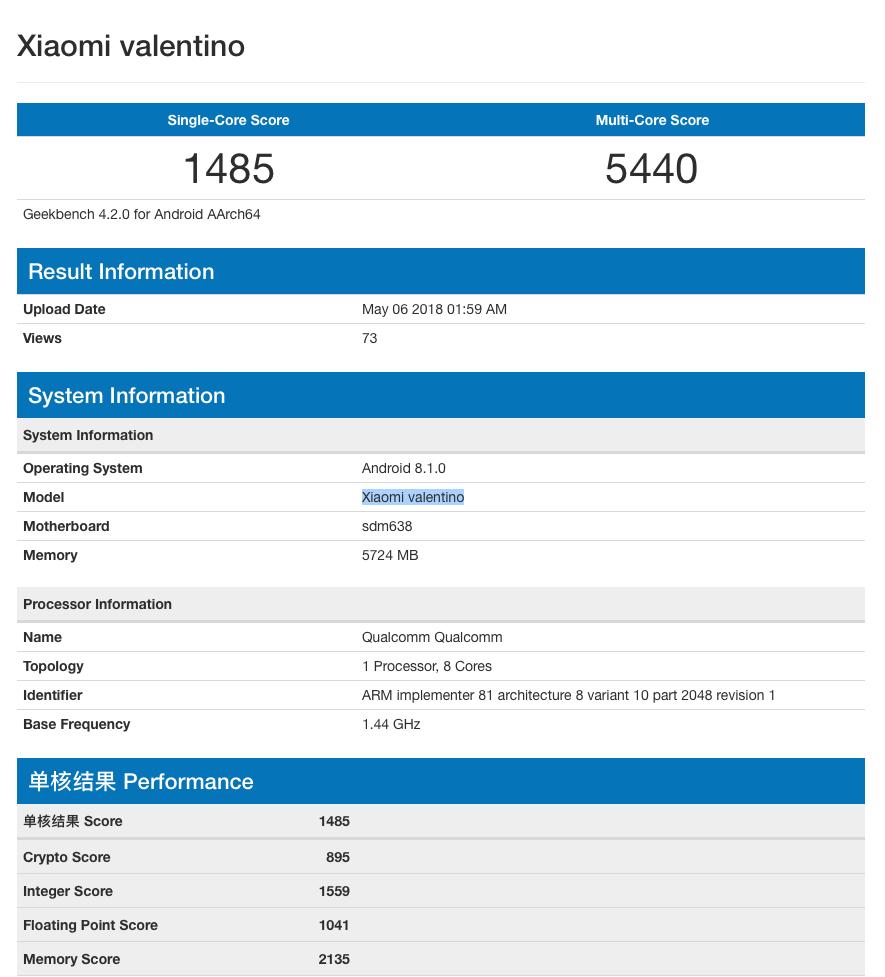 Xiaomi-Valentino-Geekbench